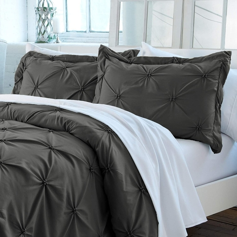 Duvet cover pinzado Gris Oscuro Queen o King