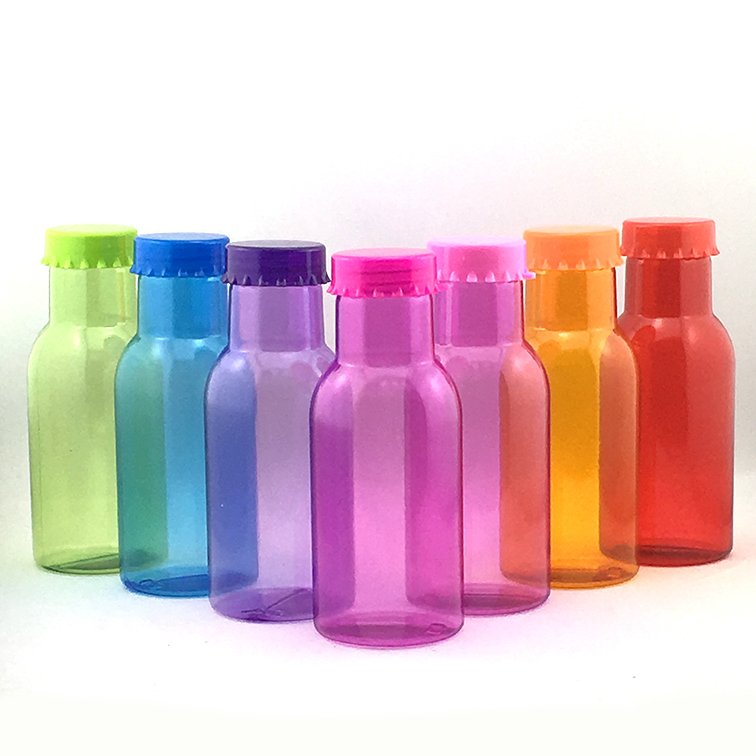 Botellitas de colores en plástico reutilizable 250ml.