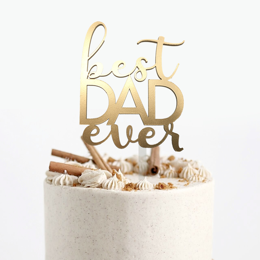 Topper para torta - Best Dad Ever Dorado