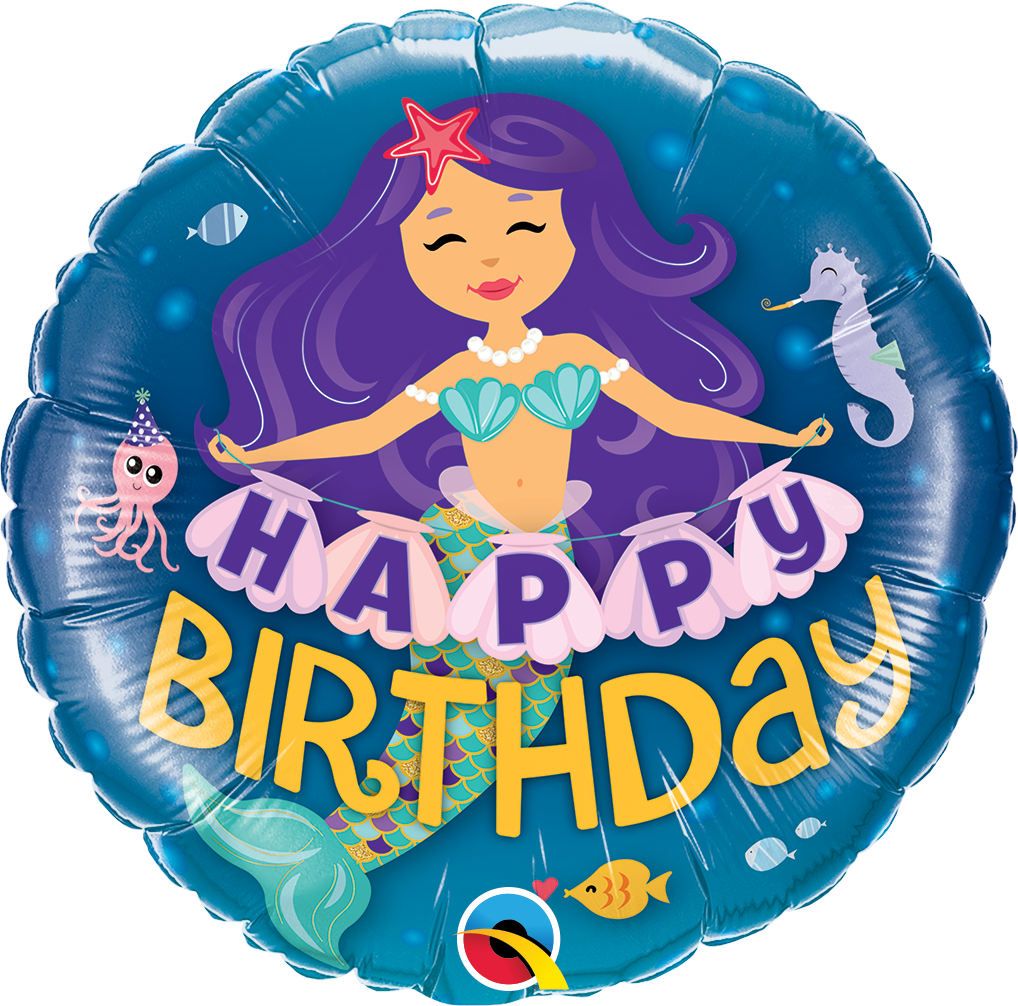 Globo Metalizado Happy Birthday  Sirena 46 cms.
