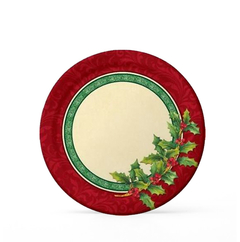Platos Holly Greenery. 18 cms - 8 unidades