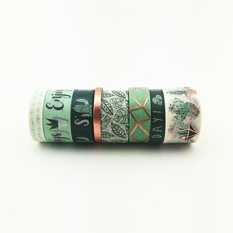 Washi Tape Green Rose Gold Set x 8 Rollos