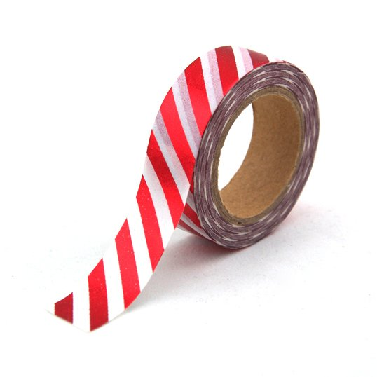Washi Tape Rayas Diagonales Blanco y Rojo Metalizado