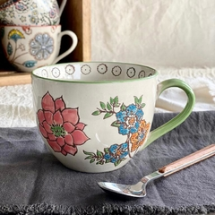 Taza flores Anthro green.