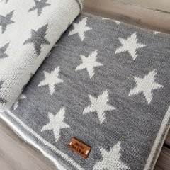 MANTITA REVERSIBLE STARS GRIS Y NATURAL 105x80 CM - Mini Ánima