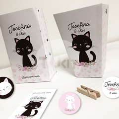Kit Imprimible Gatitos Cats Flores Candy Bar TuKit