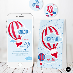 Kit Imprimible Globo Balloon Rojo y Azul Candy Bar TuKit