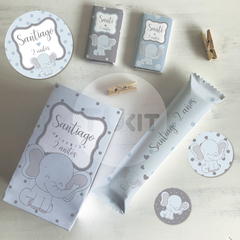 Kit imprimible elefante bebe gris celeste candy bar tukit en internet
