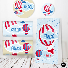Kit Imprimible Globo Balloon Rojo y Azul Candy Bar TuKit - TuKit