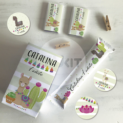 Kit imprimible animalitos del norte llamas cactus candy bar tukit