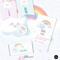 Kit imprimible arcoiris nubes lluvia corazones candy bar en internet