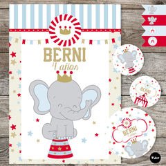 Kit imprimible circo elefante deco candy bar tukit en internet