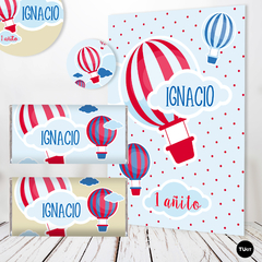 Kit Imprimible Globo Balloon Rojo y Azul Candy Bar TuKit en internet