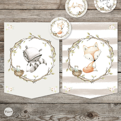 Kit imprimible woodland animalitos del bosque tukit