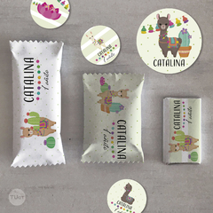 Kit imprimible animalitos del norte llamas cactus candy bar tukit - comprar online