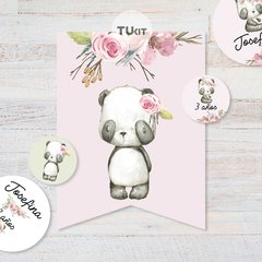 Kit Imprimible Oso Panda Acuarela Candy Bar TuKit