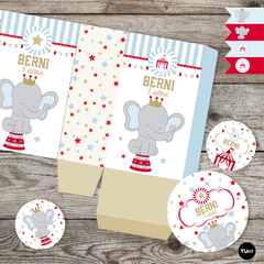 Kit imprimible circo elefante deco candy bar tukit - TuKit