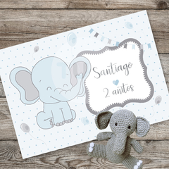 Kit imprimible elefante bebe gris celeste candy bar tukit