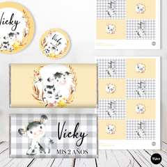 Kit Imprimible vaca cow Candy Bar tukit - TuKit
