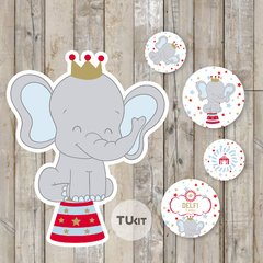 Kit imprimible circo elefante deco candy bar tukit - tienda online