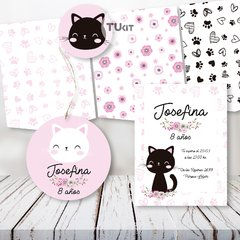 Kit Imprimible Gatitos Cats Flores Candy Bar TuKit - TuKit