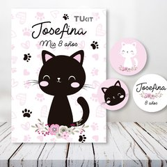 Kit Imprimible Gatitos Cats Flores Candy Bar TuKit - tienda online