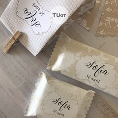 Kit Imprimible Beige Blanco Lace Candy Bar TuKit - tienda online