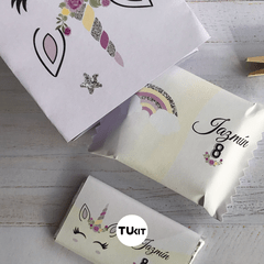 Kit Imprimible Unicornios Acuarelas Lila Amarillo Candy Bar - comprar online