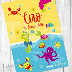 Kit Imprimible Animales del Mar Colores Candy Bar TuKit - tienda online
