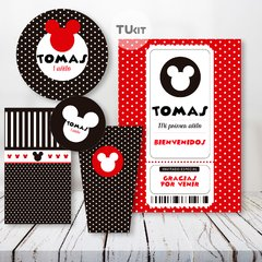 Kit imprimible mickey mouse rojo y negro candy bar - TuKit