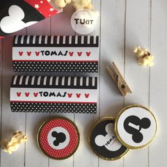 Kit imprimible mickey mouse rojo y negro candy bar