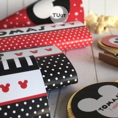 Kit imprimible mickey mouse rojo y negro candy bar - comprar online