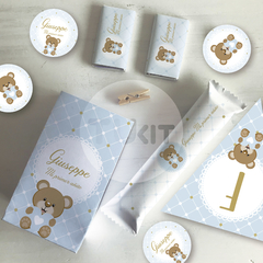 Kit imprimible osito corazon celeste blanco candy bar tukit - comprar online