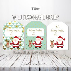 Kit imprimible tags felices fiestas tuKit