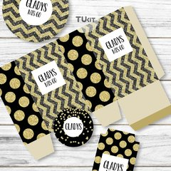 Kit Imprimible Textura Negro Dorado Wedding 15 años Candy Bar - comprar online