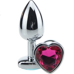 Plug anal medium metalico con Joya corazon 7.5 cm - Anal Plug metal medium PM-12