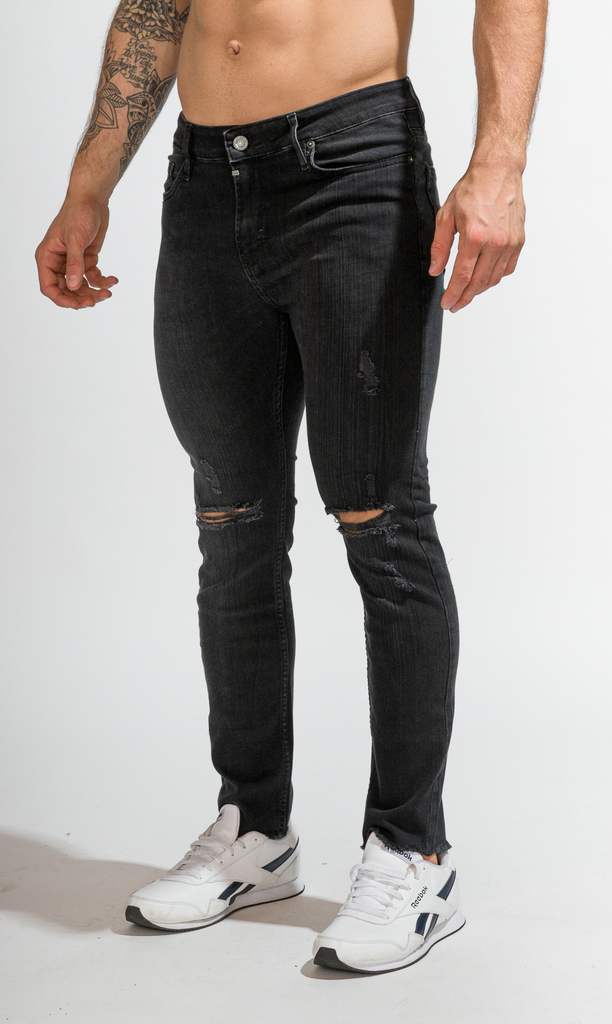 Skinny Jeans - Black with cuts