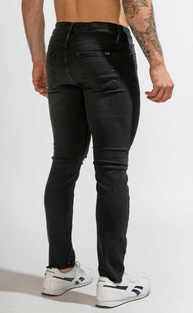 Skinny Jeans - Black with cuts - comprar online