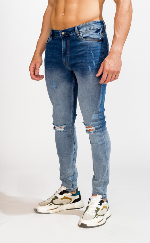 Skinny Jeans - light & dark with cuts - comprar online
