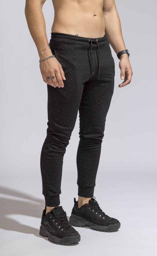 Skinny cotton jogger -  Galaxy black