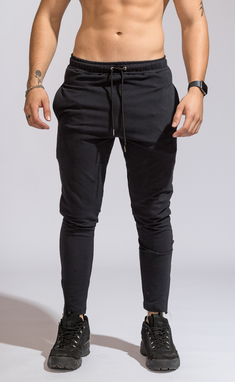 Skinny cotton jogger -  Zipper Black