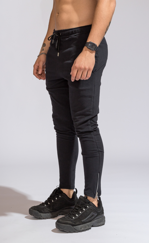 Skinny cotton jogger -  Zipper Black - buy online