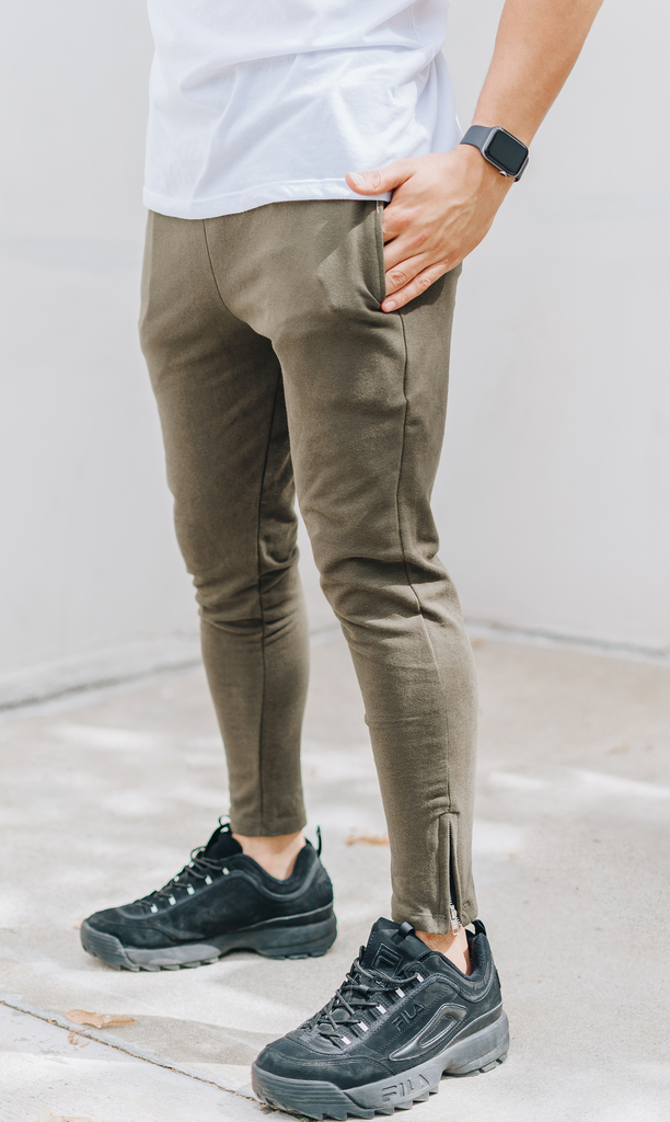 Skinny cotton jogger -  Army