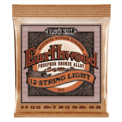 ERNIE BALL 9-46 12-STRING EARTHWOOD  LIGHT PHOSPHOR BRONZE ACOUSTIC GUITAR STRINGS - 2153