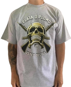 Camiseta rap power plata o plomo