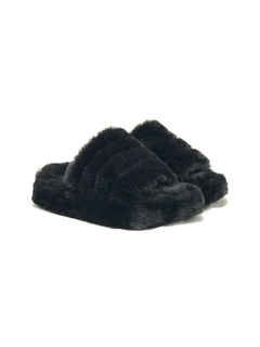 High Slippers Fluffy Negro - Araquina