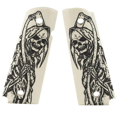 HOGUE Cachas de Colt 1911 Simil Marfil Skull Muerte MADE IN USA