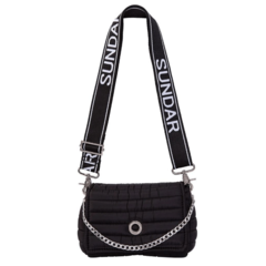ANDREA CROSSBODY BLACK WITH TWO STRAPS (CHAIN STRAP/ ADJUSTABLE STRAP)