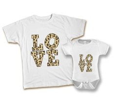 Kit Tal Mãe Tal Filha Love Animal Print Camiseta e Body ou Camiseta Infantil