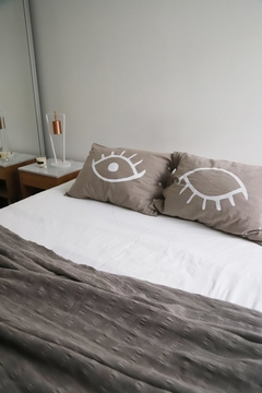 Fundas de Almohada Gris Eyes Blanco - OUTLET en internet
